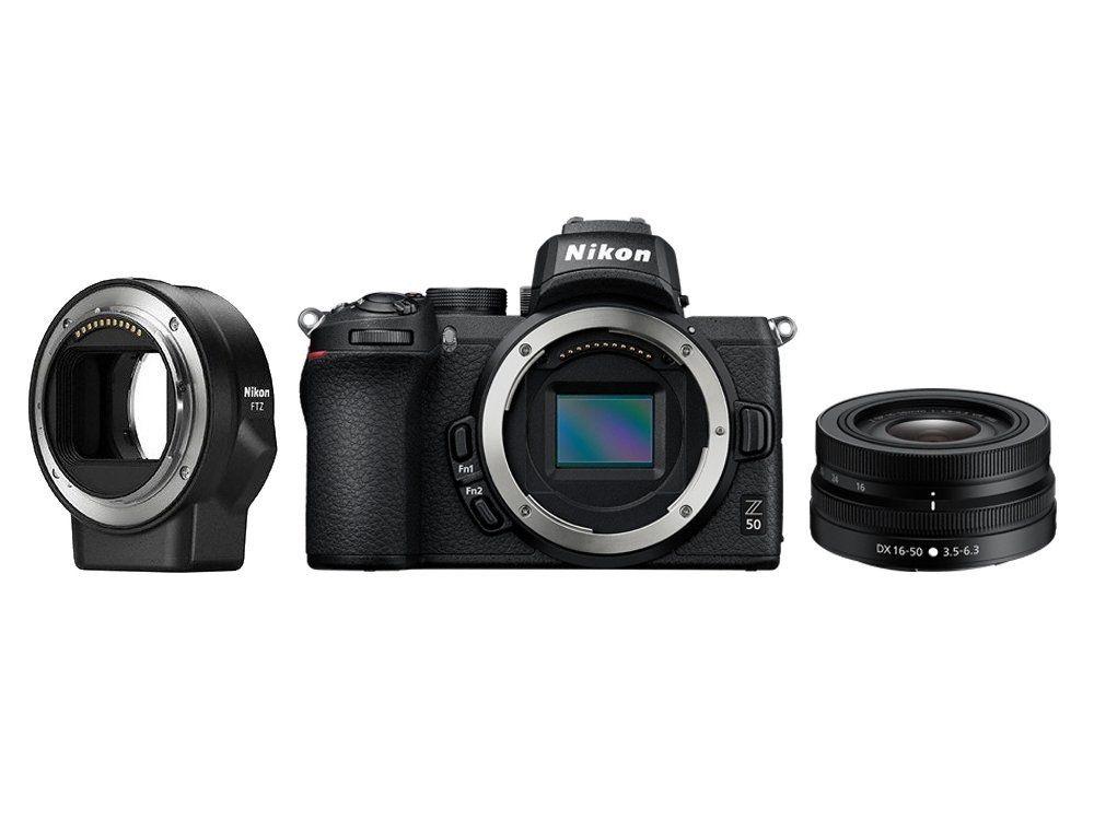 Фото - Фотоаппарат Nikon Z 50 KIT 16-50 VR + FTZ Adapter (VOA050K004) Black 20.9 Mp, 23.5 x 15.7 мм / 5568 x 3712 / экран 3.2 / 395 г lav z чёрный браслет на шнурке с розовым золотом из коллекции initials lav z