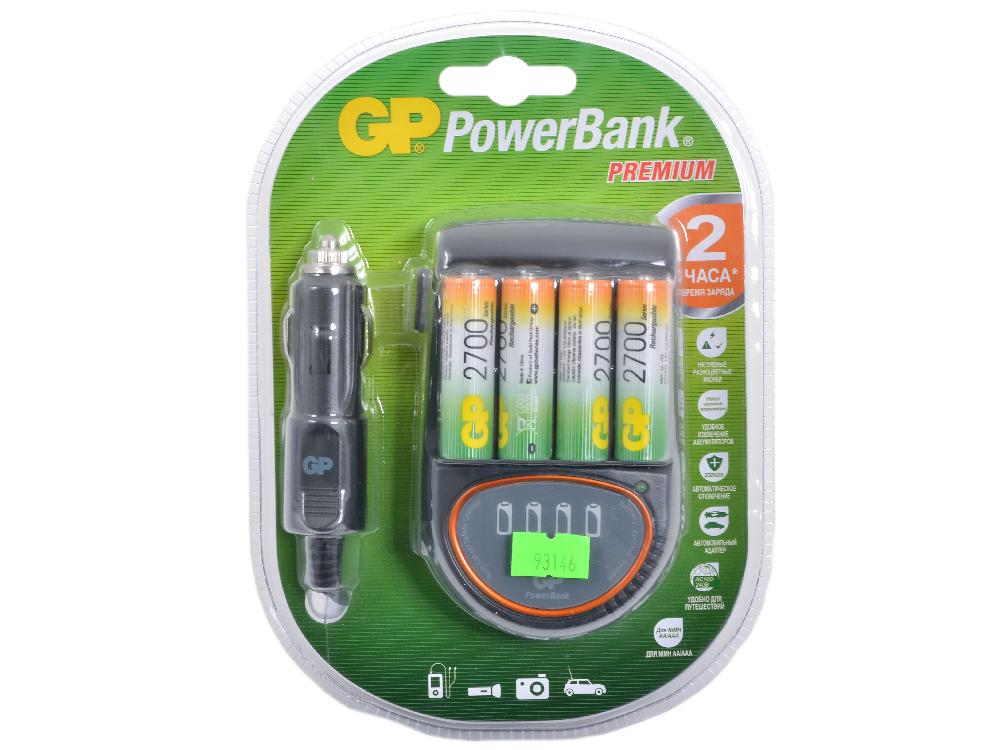 Зарядное устройство PowerBank 2-4часа + Аккум. 4шт. 2700mAh (PB50GS270CA-UE4 /6) зарядное устройство gp quick3 аккум 4шт aa 2700mah nimh 8 часов pb27pgs270