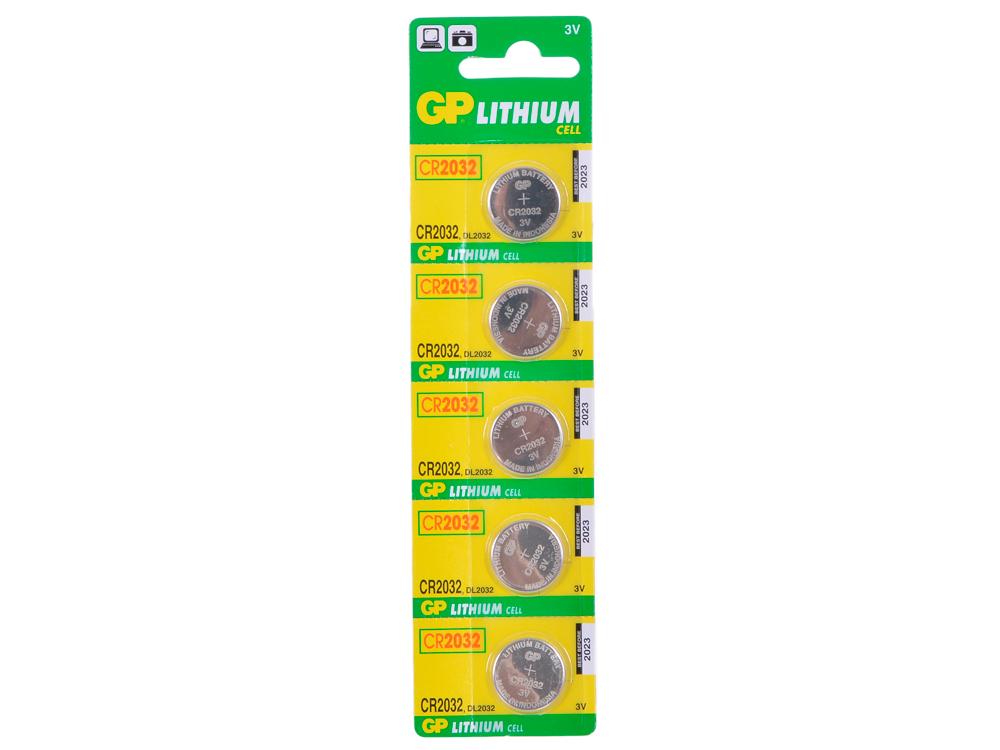 Элемент питания GP CR2032-BC5 5шт. (для биоса мат. плат) батарейка cr2032 5шт gp литиевая cr2032 7c5