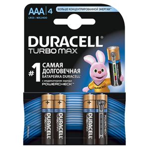 Батарейки DURACELL LR03-4BL TURBO Max (40/120/21120) Блистер 4 шт (AAA) батарейка aaa duracell lr03 4bl ultra power 4 штуки