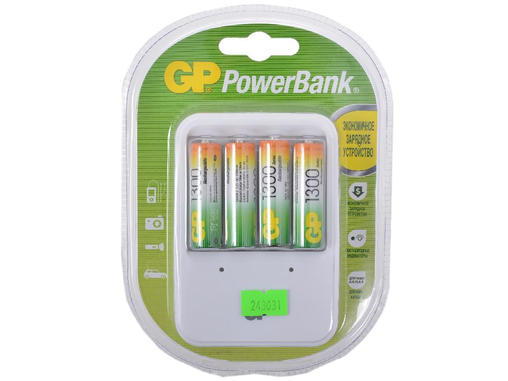 Зарядное устройство GP PowerBank 13 часов + аккум. 4шт. 1300mAh (GP PB420GS130-CR4) зарядное устройство gp quick3 аккум 4шт aa 2700mah nimh 8 часов pb27pgs270