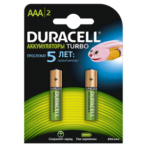 Аккумуляторы DURACELL (AAA) HR03-2BL 850 (900)mAh предзаряженные 2 шт цена и фото