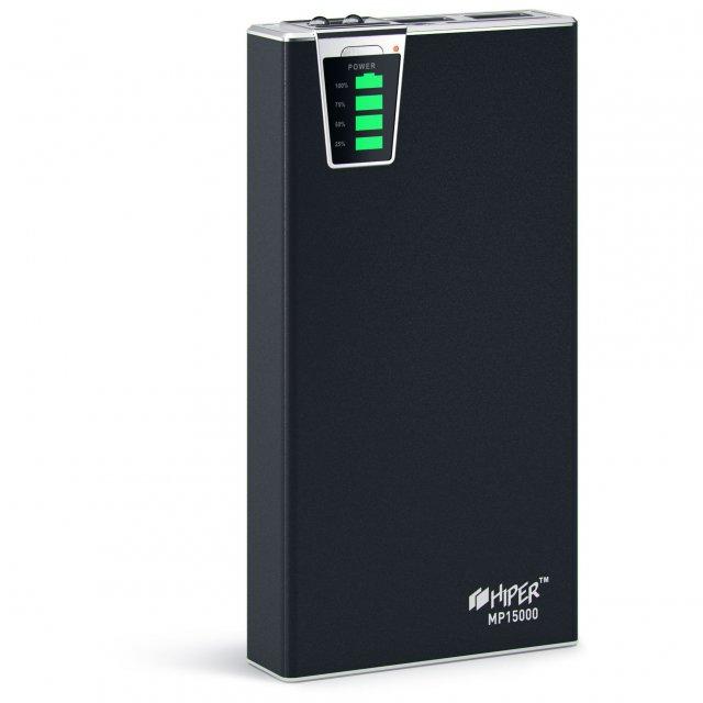 Внешний аккумулятор Hiper MP15000 Черный, 2хUSB, 2.1A, Индикатор заряда. В комплекте все переходники