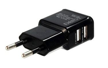 Зарядное устройство/адаптер питания USB от эл.сети Orient PU-2402, два выхода USB, 5В / 2.1A, черный