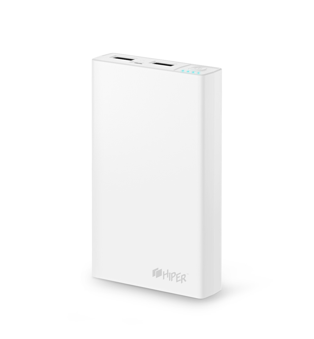 Внешний аккумулятор Hiper RP12500 White, 12500mAh, 2xUSB 2.1A, Li-Ion, индикатор заряда внешний аккумулятор samsung eb pn930csrgru 10200mah серый