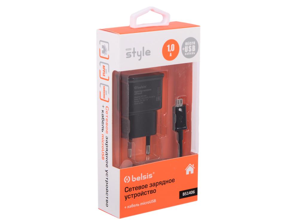 Сетевое зарядное устройство BS1406 1 USB, 1 A, дата-кабель microUSB, черный