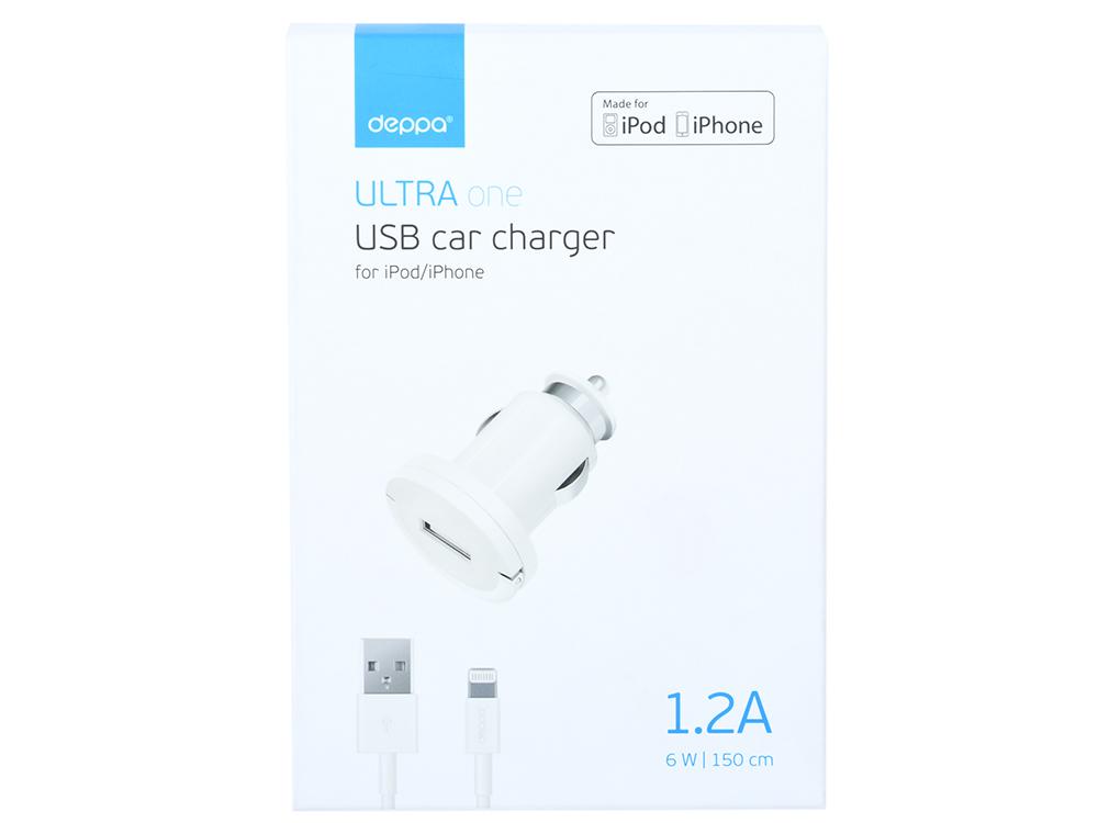 Автомобильное зарядное устройство Deppa 11250 белый USB, 1 А недорого