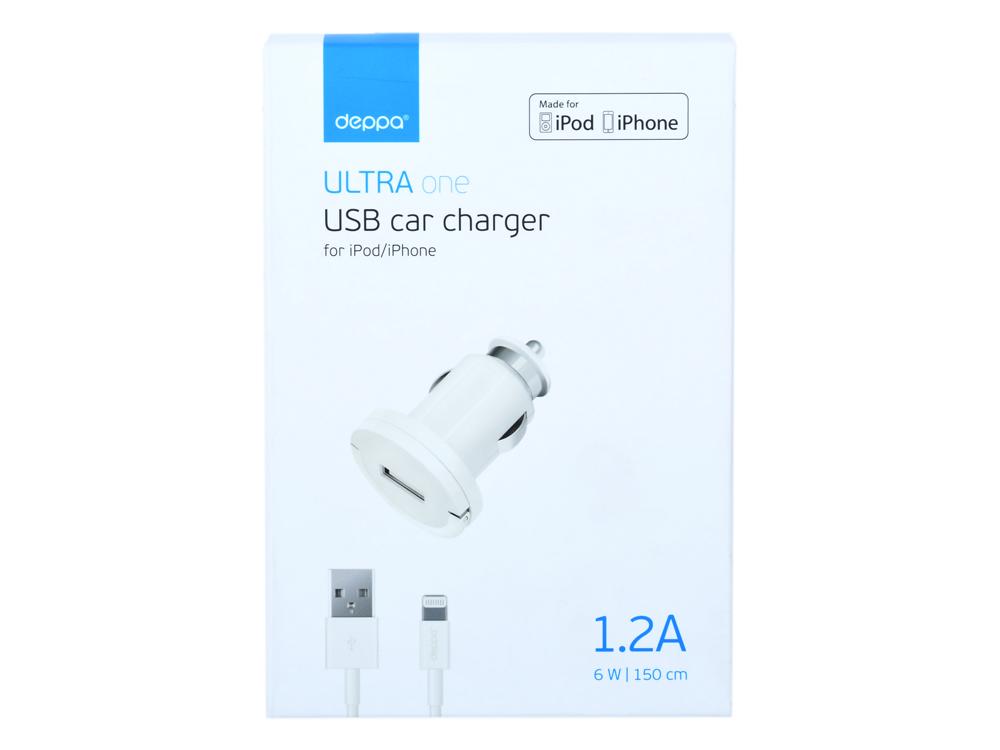 Фото - Автомобильное зарядное устройство Deppa 11250 белый USB, 1 А автомобильное зарядное устройство car charger vpcch34whi белое
