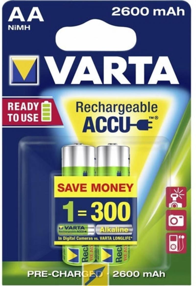 Аккумуляторы 2600 mAh Varta R2U AA 2 шт аккумулятор varta aa 2700маh 4 шт