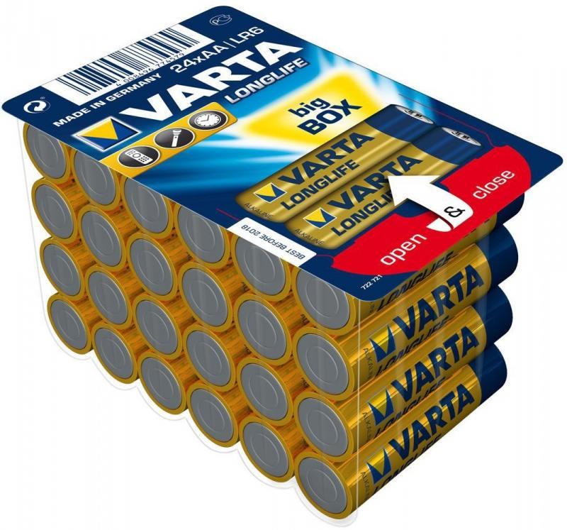 Батарейки Varta Longlife AA 24 шт батарейки aa max lr6 24 24 шт kodak щелочные