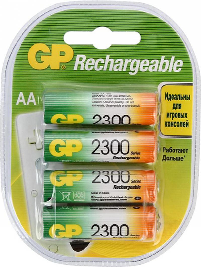 Картинка для Аккумуляторы 2300 mAh GP 230AAHC-2DECRC4 AA 4 шт
