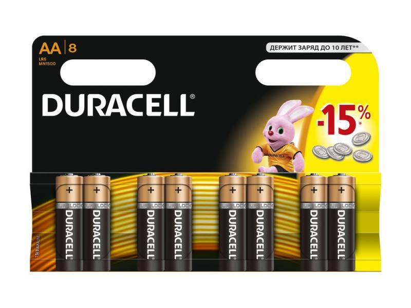 Батарейки Duracell MN1500 LR6 AA 8 шт цена и фото