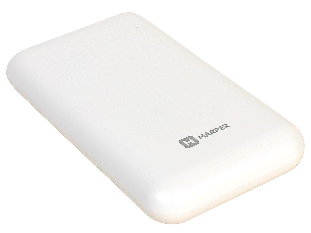 лучшая цена Внешний аккумулятор HARPER PB-10010 white (10000mAh/Li-Pol; Выход 2 USB: 5V/1A и 5V/2,1A; LED индикатор)