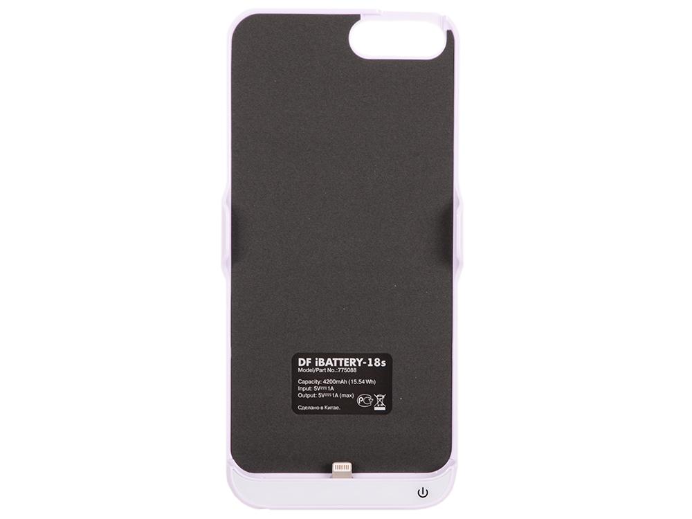 Фото - Аккумулятор-чехол для iPhone 6 Plus/6s Plus/7 Plus DF iBattery-18s (white) чехол накладка для apple iphone 6 6s deppa gel plus case 85213 pink клип кейс полиуретан
