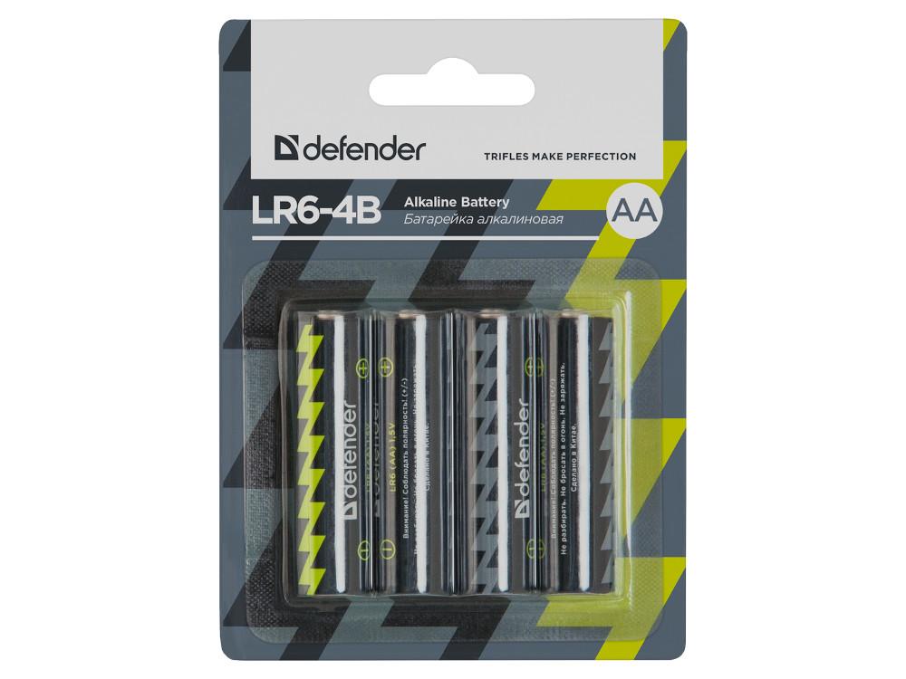 Батарейки Defender (AA) LR6-4B 4PCS 4 шт 56012 батарейки panasonic alkaline power lr6reb 4bp aa 4 шт