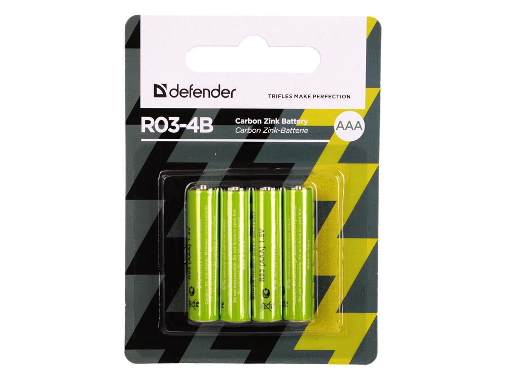 Батарейки Defender (AAA) R03-4B 4 шт 56102 батарейки canyon nrg 4 шт aaa s6alkaaa4