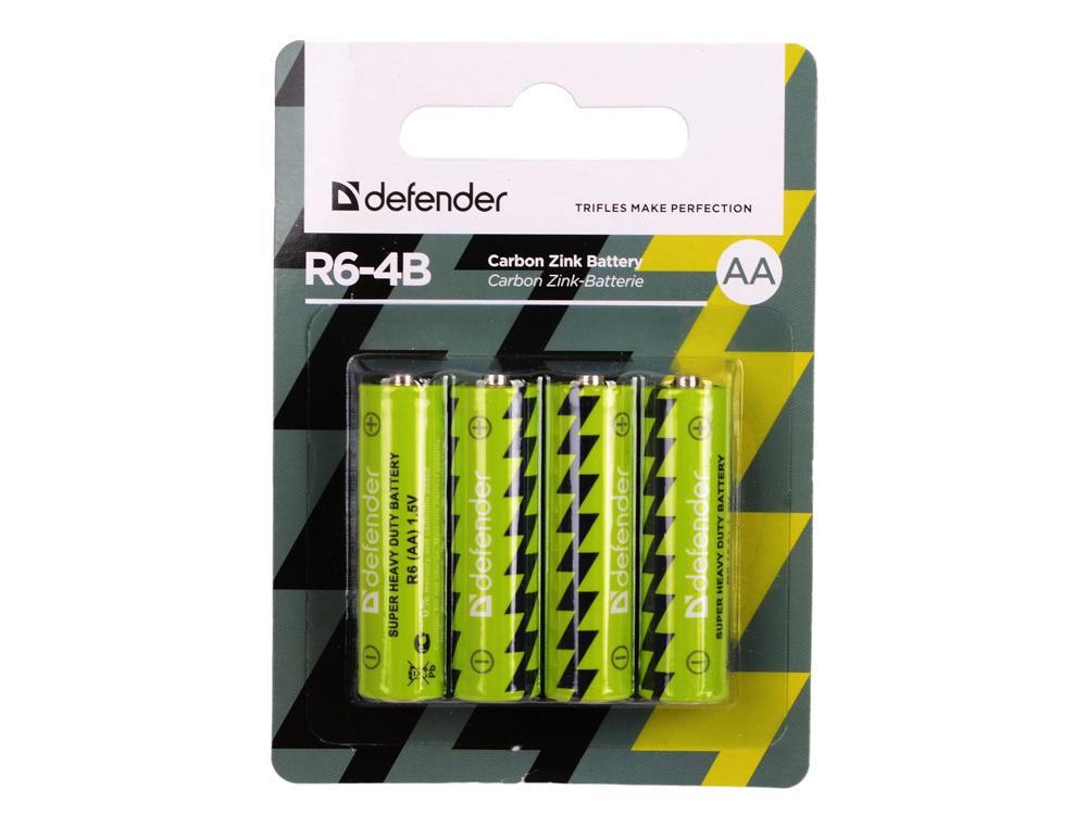 Батарейки Defender (AA) R6-4B 4 шт 56112 батарейки panasonic alkaline power lr6reb 4bp aa 4 шт