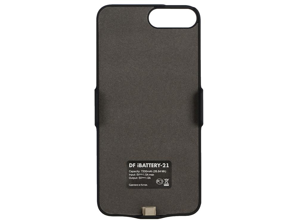 Аккумулятор-чехол для iPhone 6 Plus/6s Plus/7 Plus (7200 мАч) DF iBattery-21 (black) аксессуар чехол аккумулятор df ibattery 21 для apple iphone 6 plus 6s plus 7 plus 8 plus 7200mah black