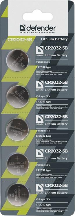 Батарейка Defender литиевая CR2032-5B в блистере 5 шт батарейка cr2032 energizer lithium cr2032 3v 4 штуки