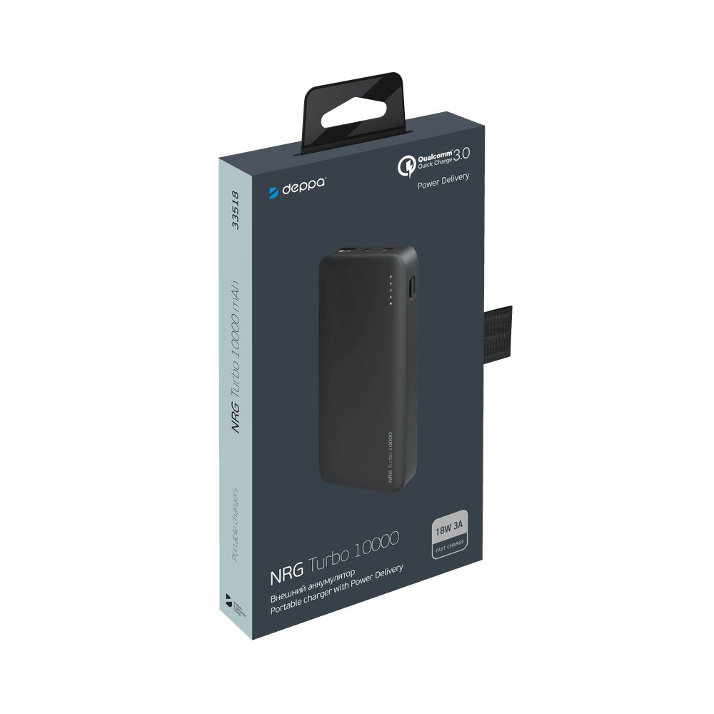 Внешний аккумулятор Deppa NRG Turbo 10000 mAh, 18W, 3A, PD, QC3.0, FCP, Type-C, черный цена и фото