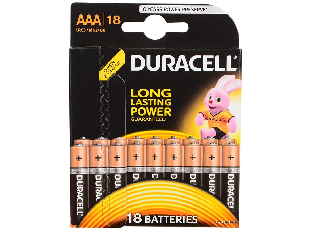 Батарейки DURACELL (ААА) LR03-18BL BASIC 18 шт батарейки duracell аа lr6 18bl basic 18 шт
