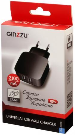 Сетевое зарядное устройство GINZZU GA-3008B 2.1A 2 х USB черный