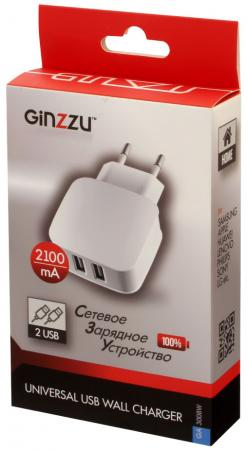 цены Сетевое зарядное устройство GINZZU GA-3008W 2.1A 2 х USB белый