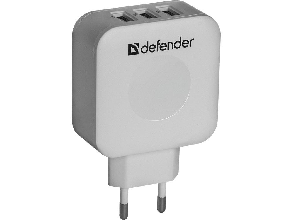Сетевое зарядное устройство Defender UPA-30 4A 3 x USB белый 83535 сетевое зарядное устройство defender upa 40 5а 4 x usb черный