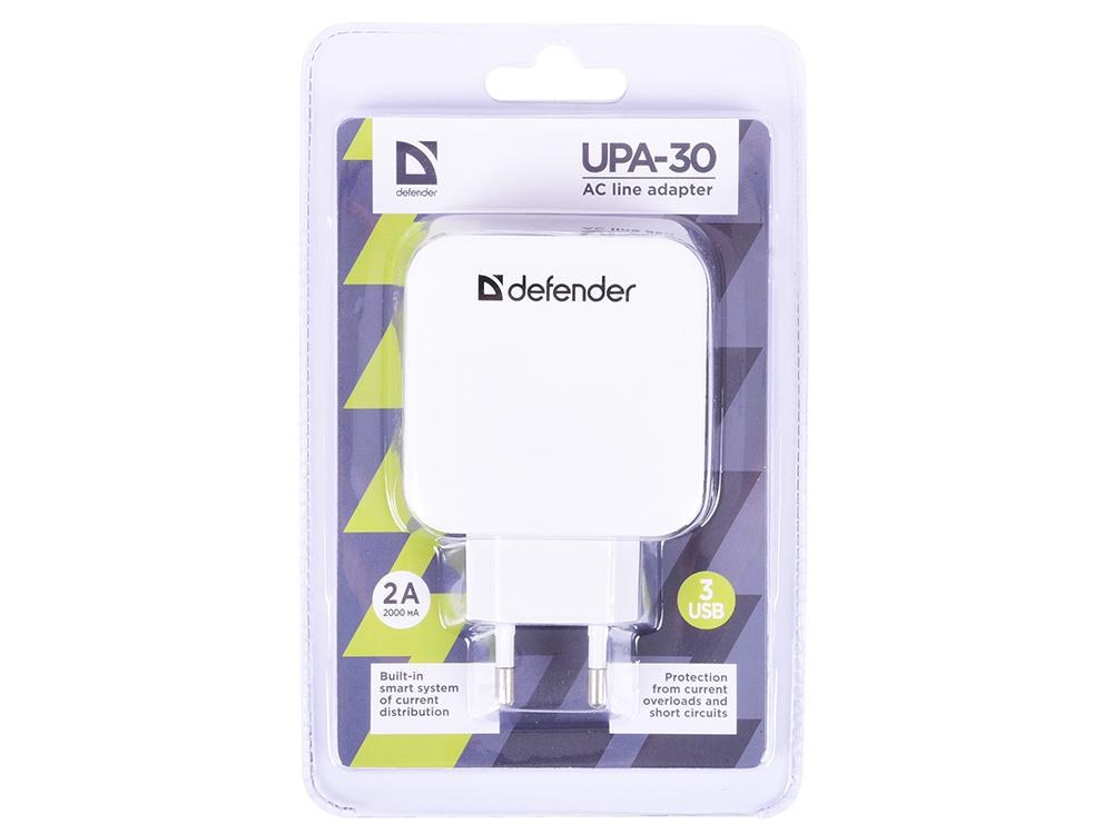 Сетевое зарядное устройство Defender UPA-30 4A 3 x USB белый 83535 defender upa 04 сетевое зарядное устройство