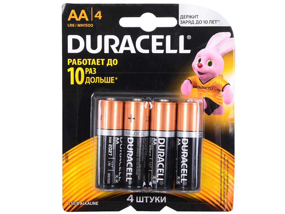 Батарейки DURACELL (АА) LR6-4BL BASIC CN 4 шт батарейки duracell industrial lr6 aa 10 шт