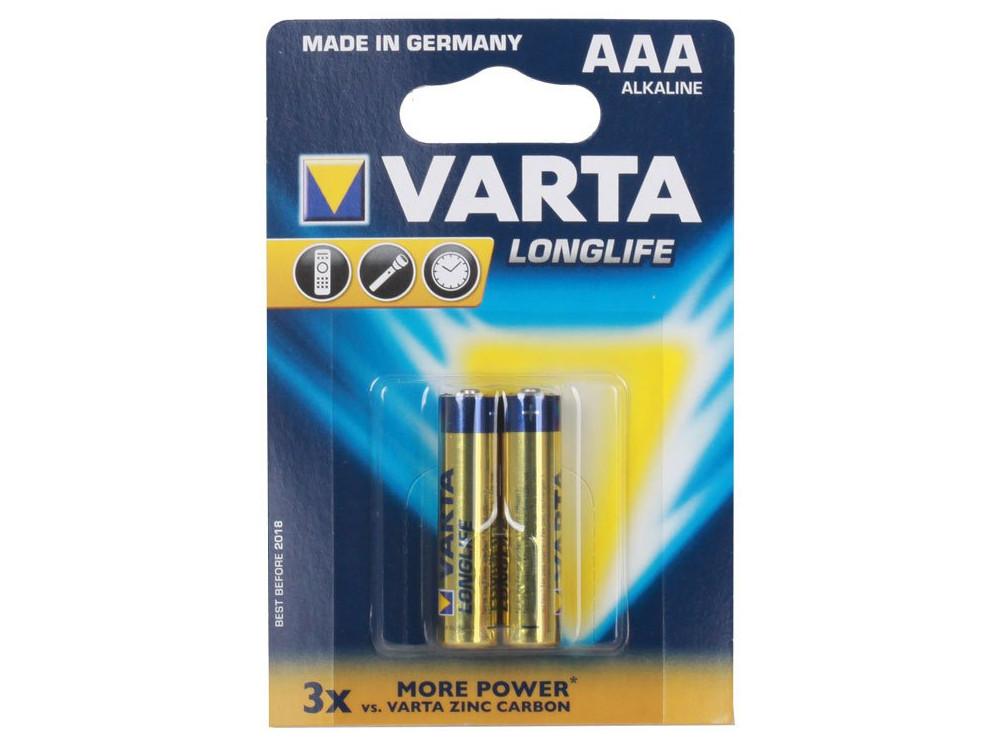 Батарейка VARTA LONGLIFE AAA/LR03, 2шт. в блистере gucci черные лоферы с пряжкой brixton