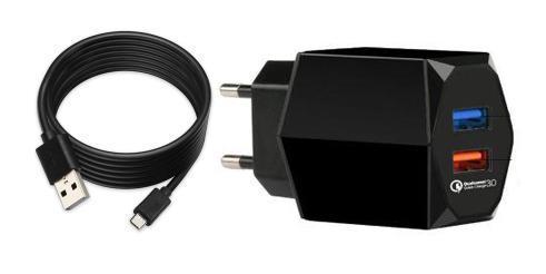 Универсальное зарядное устройство Jet.A UC-C23 от сети 220В (2USB: QC3.0+2.4А,каб USB TypeC), чёрное