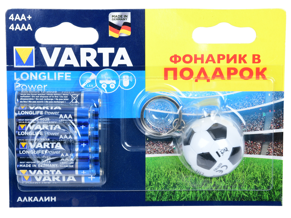 Батарейки VARTA LONGLIFE HIGH ENERGY 4AA+4AAA+фонарик VARTA батарейки varta longlife aa 10 шт
