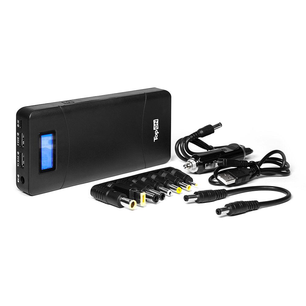 Универсальный внешний аккумулятор TopON TOP-T72 18000mAh (66.6Wh) с 2 USB-портами и QC 2.0, для зарядки ноутбука черный универсальный аккумулятор topon top airmini для смартфонов планшетов цифровой техники iphone ipad на 3500mah 13wh