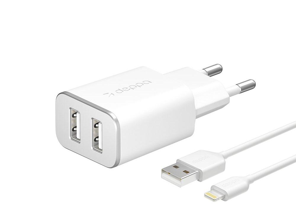 Сетевое зарядное устройство Deppa 2 USB 2.4А + кабель Lightning, MFI, белый зарядное устройство red line ntc 2 4a 1xusb 2 4a кабель 8pin lightning c mfi white ут000013627