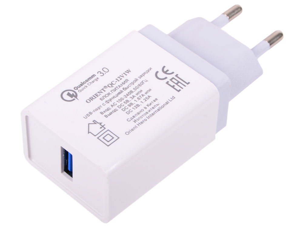 Зарядное устройство USB ORIENT QC-12V1W Белый 1xUSB, 3A, Quick Charge 3.0