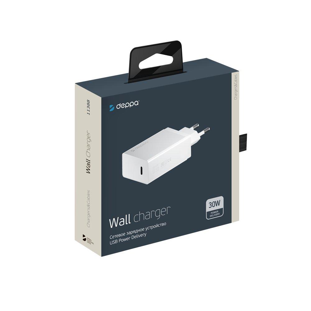 Сетевое зарядное устройство Deppa USB Type-C, Power Delivery, 30 Вт., белый цена