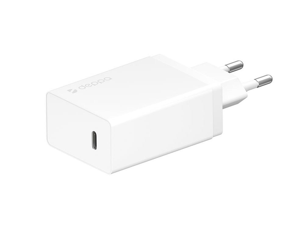 Фото - Сетевое зарядное устройство Deppa 11388 USB Type-C, Power Delivery, 30 Вт, белый сетевое зарядное устройство nobby comfort nbc tc 21 20 черный 2xusb 2 1а led v и а