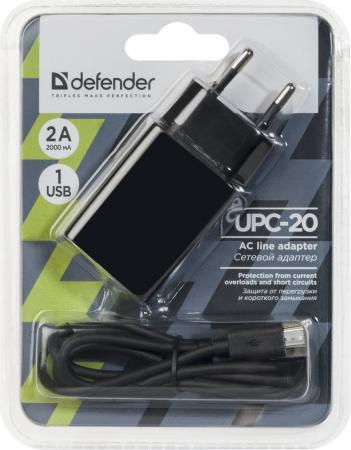 Сетевое зарядное устройство Defender UPC-20 1 порт USB, 5V / 2А, кабель MicroUSB (83539)