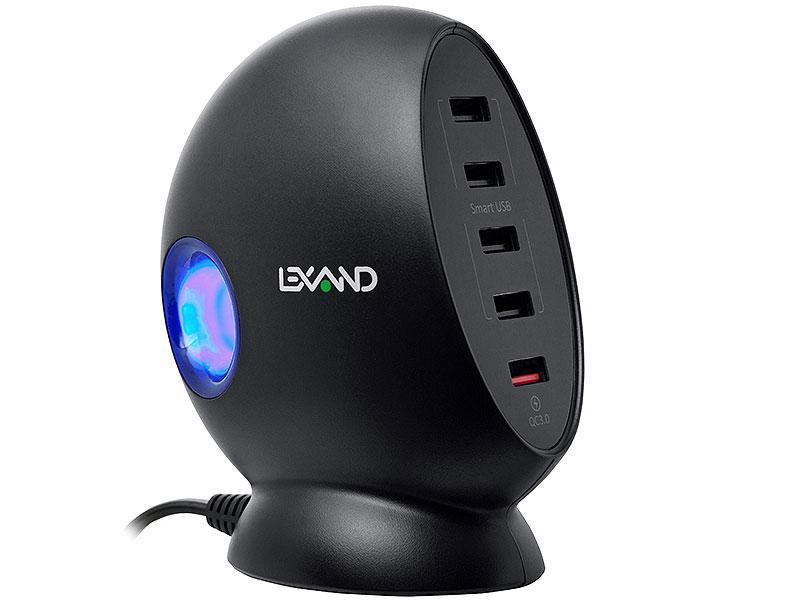 Зарядная станция LEXAND LP-5Q (черный) 5хUSB, 1 порт с поддержкой QC 3.0.
