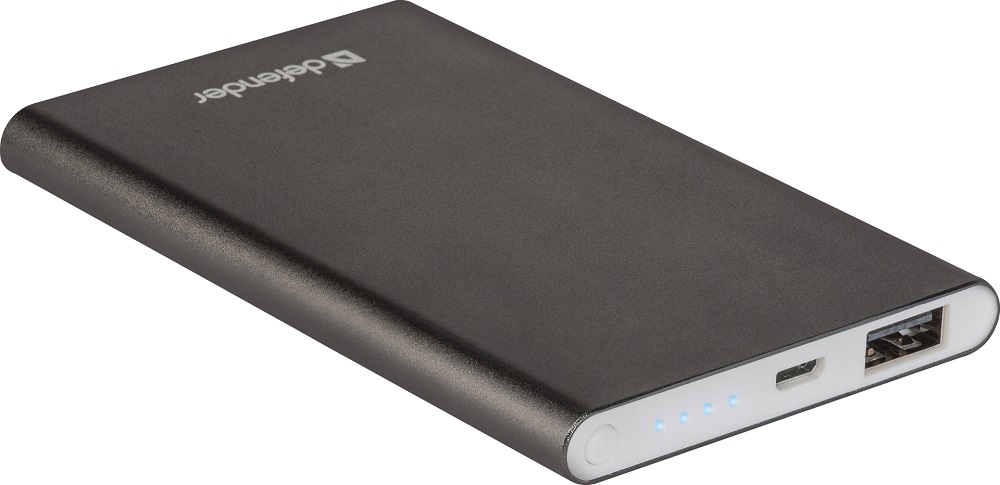 Внешний аккумулятор Defender ExtraLife 4000B Li-pol, 1 USB, 4000 mAh, 2.1A аккумулятор для bqs 5050 strike selfie li polymer 2500 mah