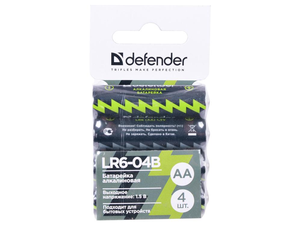 Батарейка алкалиновая Defender LR6-04B AA, в блистере 4 шт батарейка aa camelion alkaline plus lr6 lr6 pb24 24 штуки