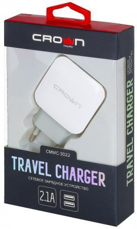 Crown CMWC-3022 Сетевое универсальное зарядное устройство, два порта зарядки; входное напряжение 100 зарядное устройство crown cmwc 3083f 3xusb white grey