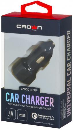 Crown CMCC-3031F Автомобильное универсальное зарядное устройство, один порт зарядки; поддержка Quick зарядное
