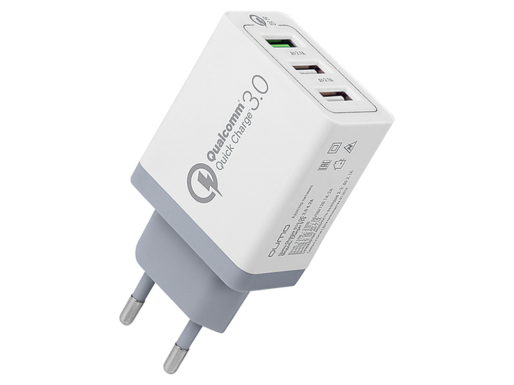 Сетевое зарядное устройство Qumo Quick Charge 3.0 3 USB (Charger 019), Quick charge 3.0, 3 USB, QC 3.0 + 2,1A, белый 30w 3 port fast quick charge qc 3 0 usb wall charger 3 in 1 type c 8 pin micro usb data charging cable
