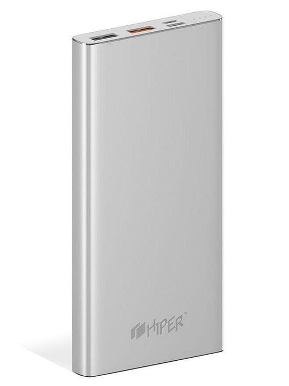Внешний аккумулятор Hiper MPX10000 Li-Pol 10000mAh серебристый 2xUSB, 3A цена и фото