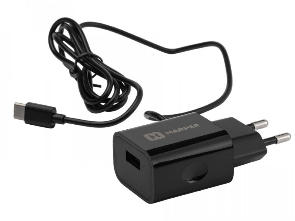 Сетевое зарядное устройство HARPER WCH-5118 BLACK 1xUSB 2.1A + кабель USB Type-C ginzzu ga 3412ub black сетевое зарядное устройство кабель micro usb