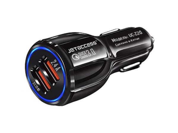 Автомобильное зарядное устройство Jet.A UC-Z20 черный 12В-24В (2USB: QC3.0+2.4А) адаптер питания 24в в 12в avis electronics avs241215dc