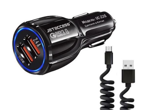 Автомобильное зарядное устройство Jet.A UC-S20 Черный 12В-24В (2USB:QC3.0+2.4А,каб microUSB)