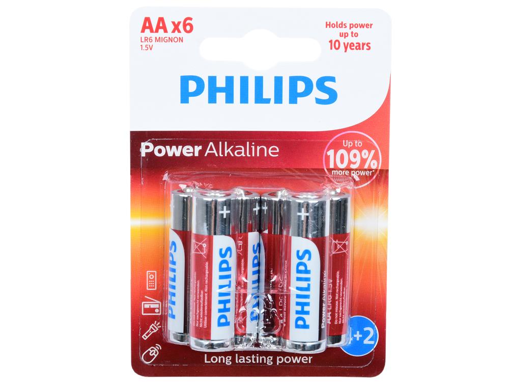 Батарейки Philips LR6P6BP/10 (AA) Power щелочные (блистер 6 шт) цена и фото